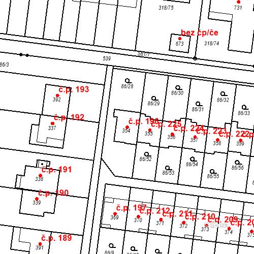 Katastrální mapa Stavební objekt Krasice 196, Prostějov