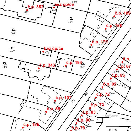 Katastrální mapa Stavební objekt Krasice 194, Prostějov