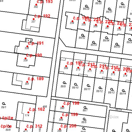Katastrální mapa Stavební objekt Krasice 197, Prostějov