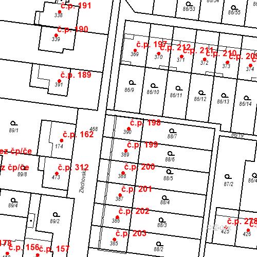 Katastrální mapa Stavební objekt Krasice 198, Prostějov