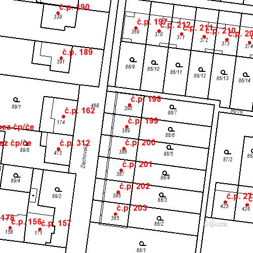 Katastrální mapa Stavební objekt Krasice 199, Prostějov