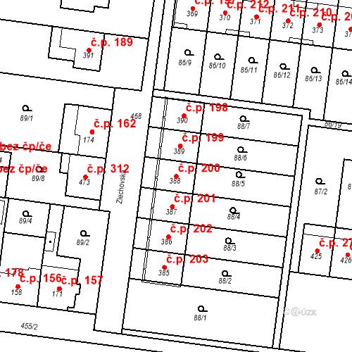 Katastrální mapa Stavební objekt Krasice 200, Prostějov