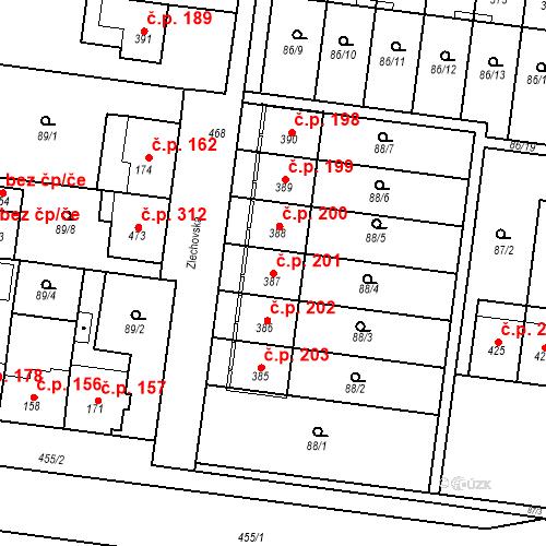 Katastrální mapa Stavební objekt Krasice 201, Prostějov
