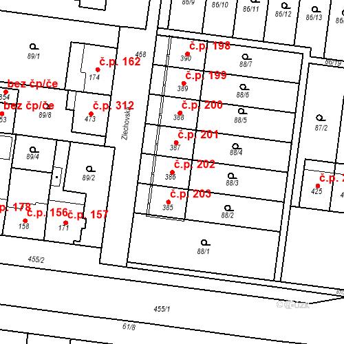 Katastrální mapa Stavební objekt Krasice 202, Prostějov