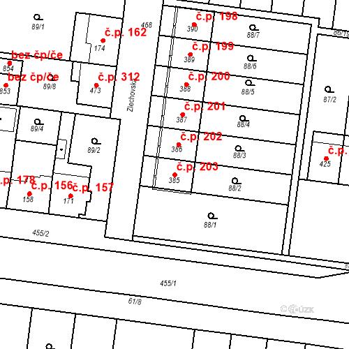 Katastrální mapa Stavební objekt Krasice 203, Prostějov