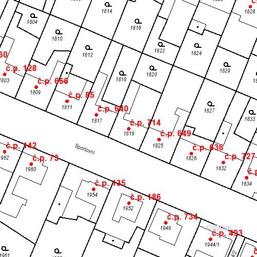 Katastrální mapa Stavební objekt Ratíškovice 714, Ratíškovice