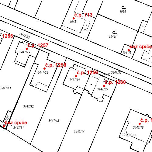 Katastrální mapa Stavební objekt Ratíškovice 1259, Ratíškovice