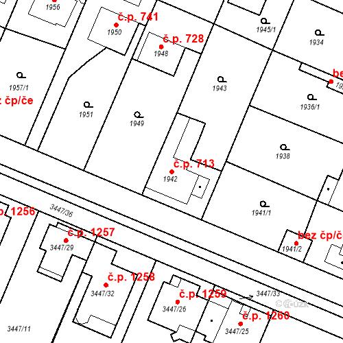 Katastrální mapa Stavební objekt Ratíškovice 713, Ratíškovice