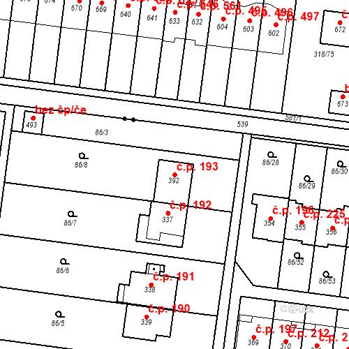 Katastrální mapa Stavební objekt Krasice 193, Prostějov