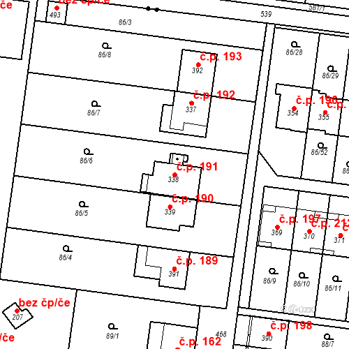 Katastrální mapa Stavební objekt Krasice 191, Prostějov