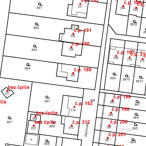 Katastrální mapa Stavební objekt Krasice 189, Prostějov