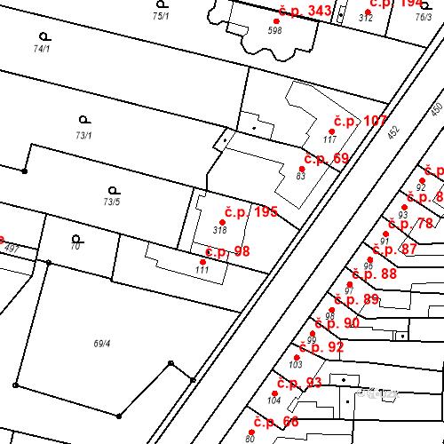 Katastrální mapa Stavební objekt Krasice 195, Prostějov