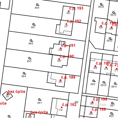 Katastrální mapa Stavební objekt Krasice 190, Prostějov