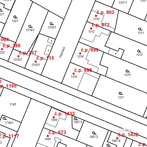 Katastrální mapa Stavební objekt Ratíškovice 698, Ratíškovice
