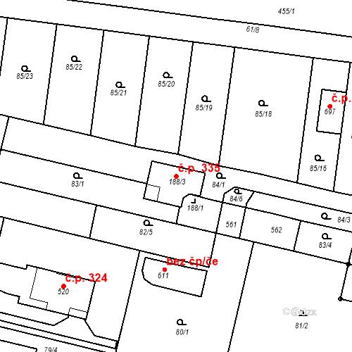 Katastrální mapa Stavební objekt Krasice 335, Prostějov