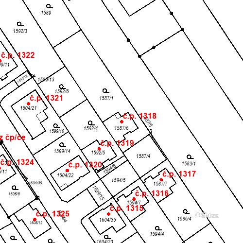Katastrální mapa Stavební objekt Rohatec 1318, Rohatec