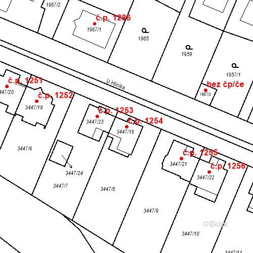 Katastrální mapa Stavební objekt Ratíškovice 1254, Ratíškovice