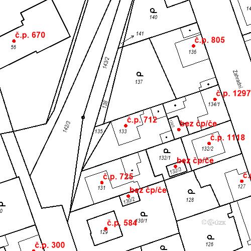 Katastrální mapa Stavební objekt Ratíškovice 712, Ratíškovice