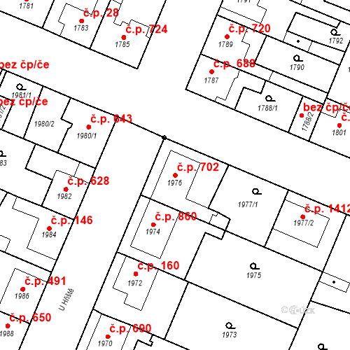 Katastrální mapa Stavební objekt Ratíškovice 702, Ratíškovice
