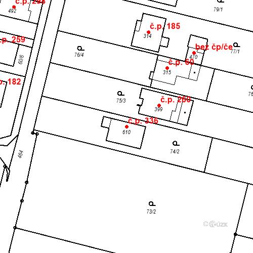 Katastrální mapa Stavební objekt Krasice 336, Prostějov