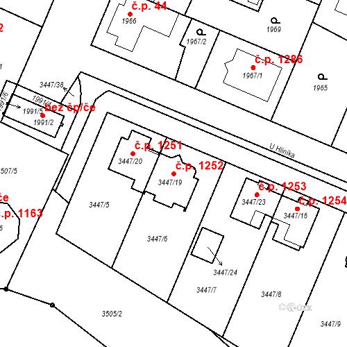Katastrální mapa Stavební objekt Ratíškovice 1252, Ratíškovice