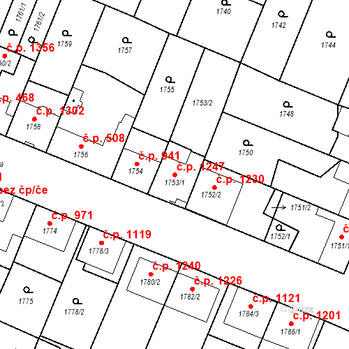 Katastrální mapa Stavební objekt Ratíškovice 1247, Ratíškovice
