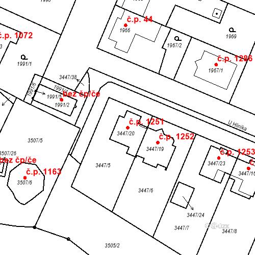 Katastrální mapa Stavební objekt Ratíškovice 1251, Ratíškovice