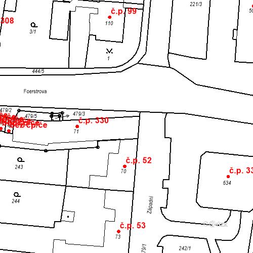 Katastrální mapa Stavební objekt Krasice 330, Prostějov