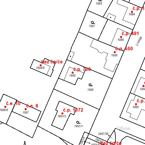 Katastrální mapa Stavební objekt Ratíškovice 700, Ratíškovice