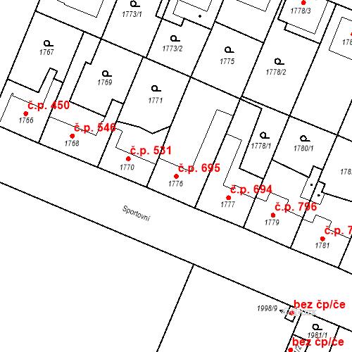 Katastrální mapa Stavební objekt Ratíškovice 695, Ratíškovice