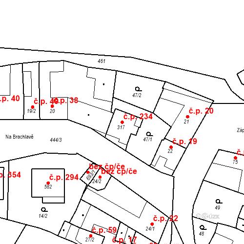 Katastrální mapa Stavební objekt Krasice 234, Prostějov
