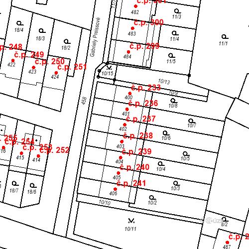 Katastrální mapa Stavební objekt Krasice 237, Prostějov