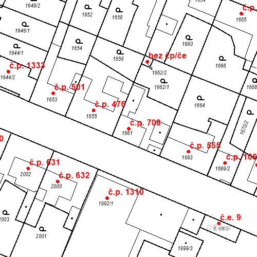 Katastrální mapa Stavební objekt Ratíškovice 708, Ratíškovice