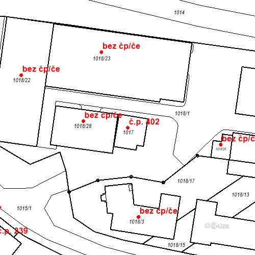 Katastrální mapa Stavební objekt Brodek u Prostějova 402, Brodek u Prostějova