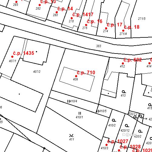 Katastrální mapa Stavební objekt Ratíškovice 710, Ratíškovice
