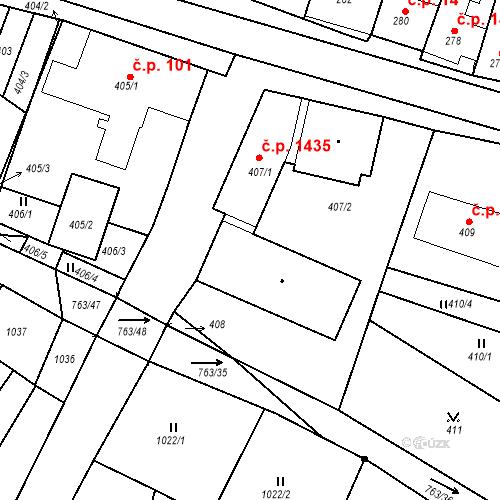 Katastrální mapa Stavební objekt Ratíškovice 1250, Ratíškovice