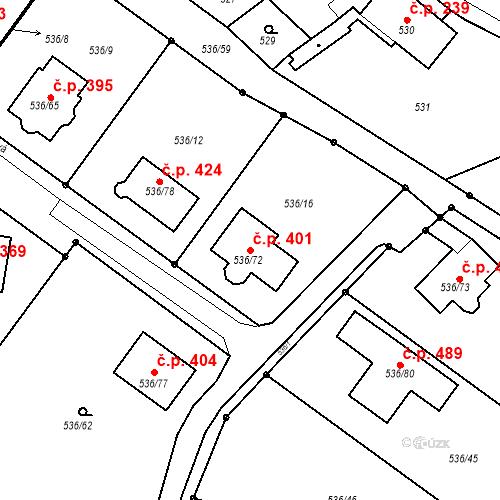 Katastrální mapa Stavební objekt Brodek u Prostějova 401, Brodek u Prostějova
