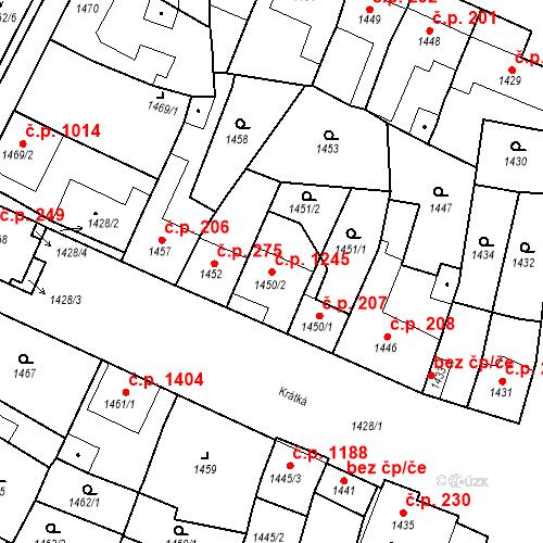 Katastrální mapa Stavební objekt Ratíškovice 1245, Ratíškovice