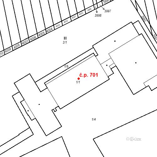 Katastrální mapa Stavební objekt Ratíškovice 701, Ratíškovice