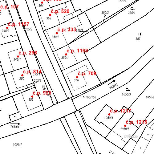 Katastrální mapa Stavební objekt Ratíškovice 709, Ratíškovice