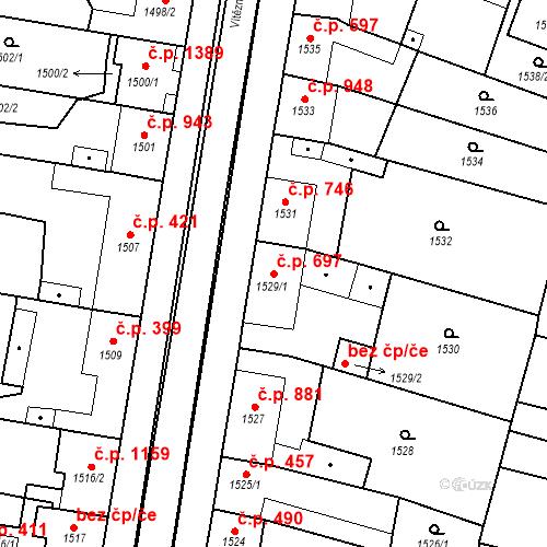Katastrální mapa Stavební objekt Ratíškovice 697, Ratíškovice