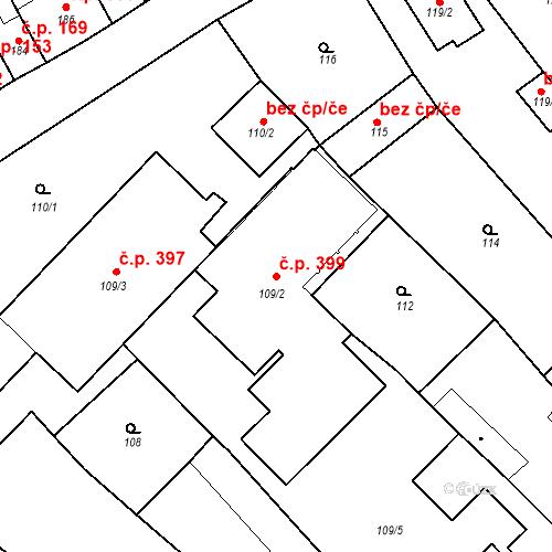 Katastrální mapa Stavební objekt Brodek u Prostějova 399, Brodek u Prostějova