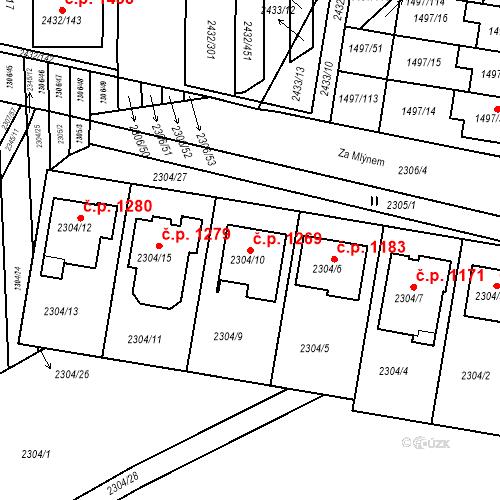 Katastrální mapa Stavební objekt Ratíškovice 1269, Ratíškovice