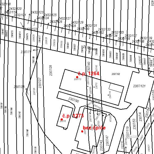 Katastrální mapa Stavební objekt Ratíškovice 1264, Ratíškovice