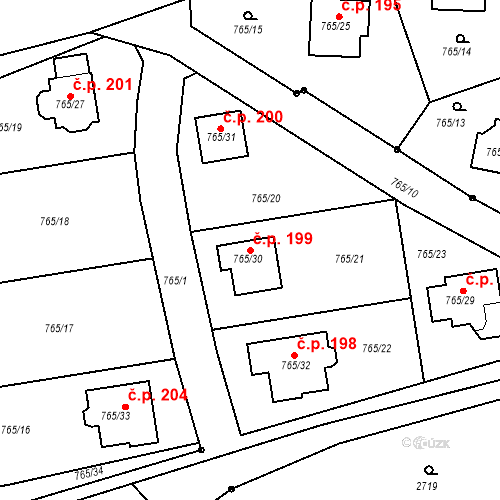 Katastrální mapa Stavební objekt Dětkovice 199, Dětkovice