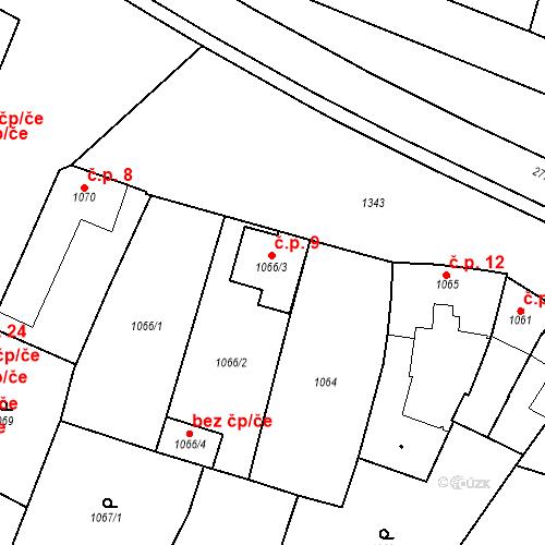 Katastrální mapa Stavební objekt Kostelec na Hané 9, Kostelec na Hané