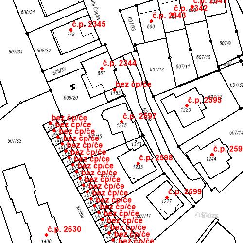Katastrální mapa Stavební objekt Nětčice 2597, Kyjov