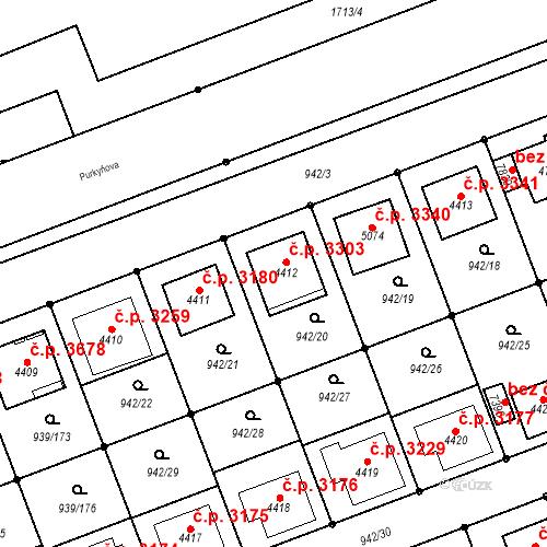 Katastrální mapa Stavební objekt Hodonín 3303, Hodonín