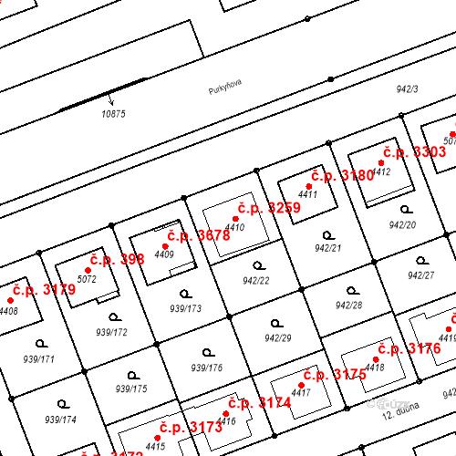 Katastrální mapa Stavební objekt Hodonín 3259, Hodonín