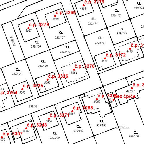 Katastrální mapa Stavební objekt Hodonín 3270, Hodonín